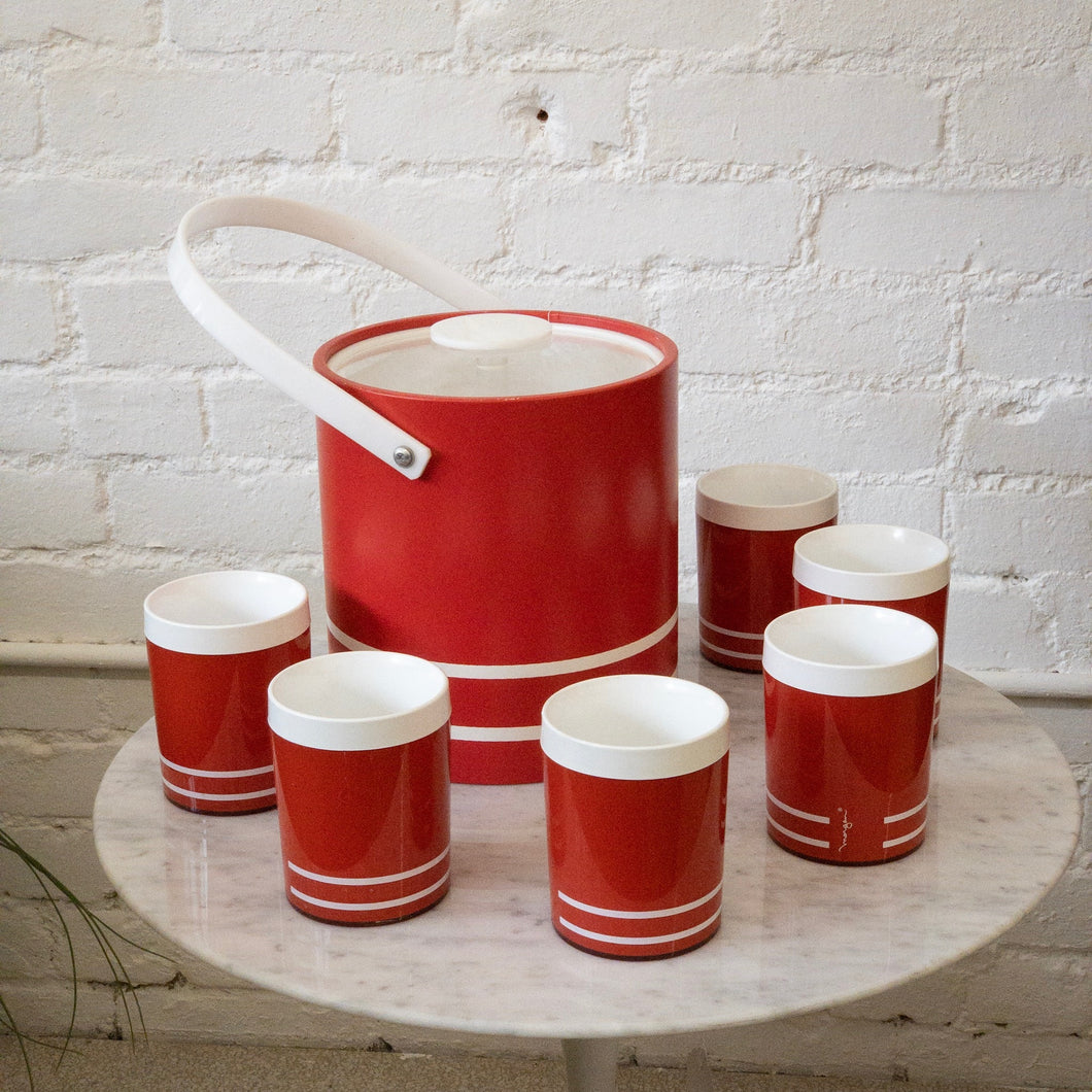 Red with White Striped Vintage Cups and Ice Box Set