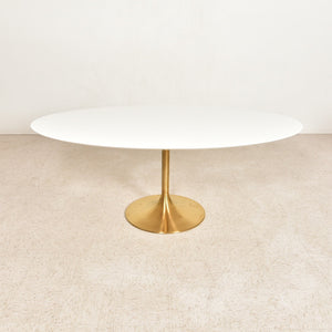 Skype Oval Modernist Table with Brass Base