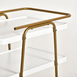 Tabatha White and Gold 3 Tier Barcart