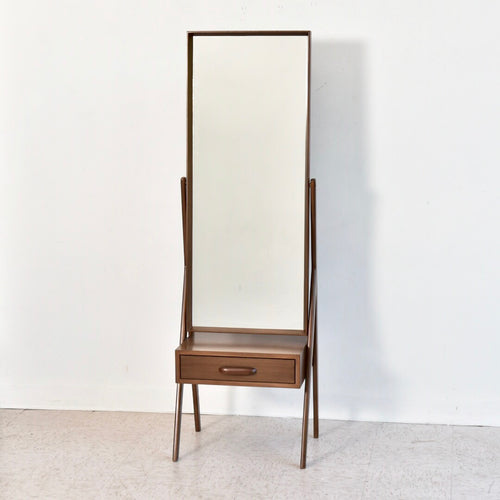 Walnut Sculpted Floor Mirror with Drawer