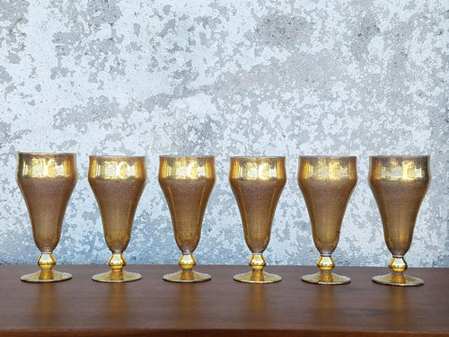Set of 5  Gold Glassware