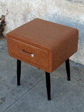 Load image into Gallery viewer, Leather Vintage Style Nightstand