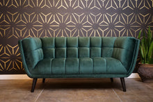 Load image into Gallery viewer, Dark Green Velvet Love Seat