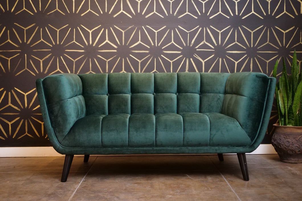 Dark Green Velvet Love Seat