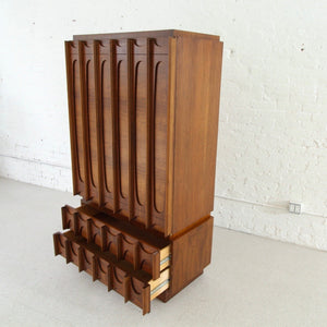 1970's Brutalist Highboy Armoire