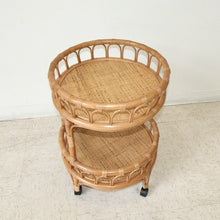 Load image into Gallery viewer, Round Bamboo Boho Bar Cart