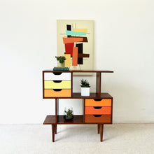 Load image into Gallery viewer, Color Block Walnut Multi-Purpose Shelving Sunbeam Vintage Exclusive