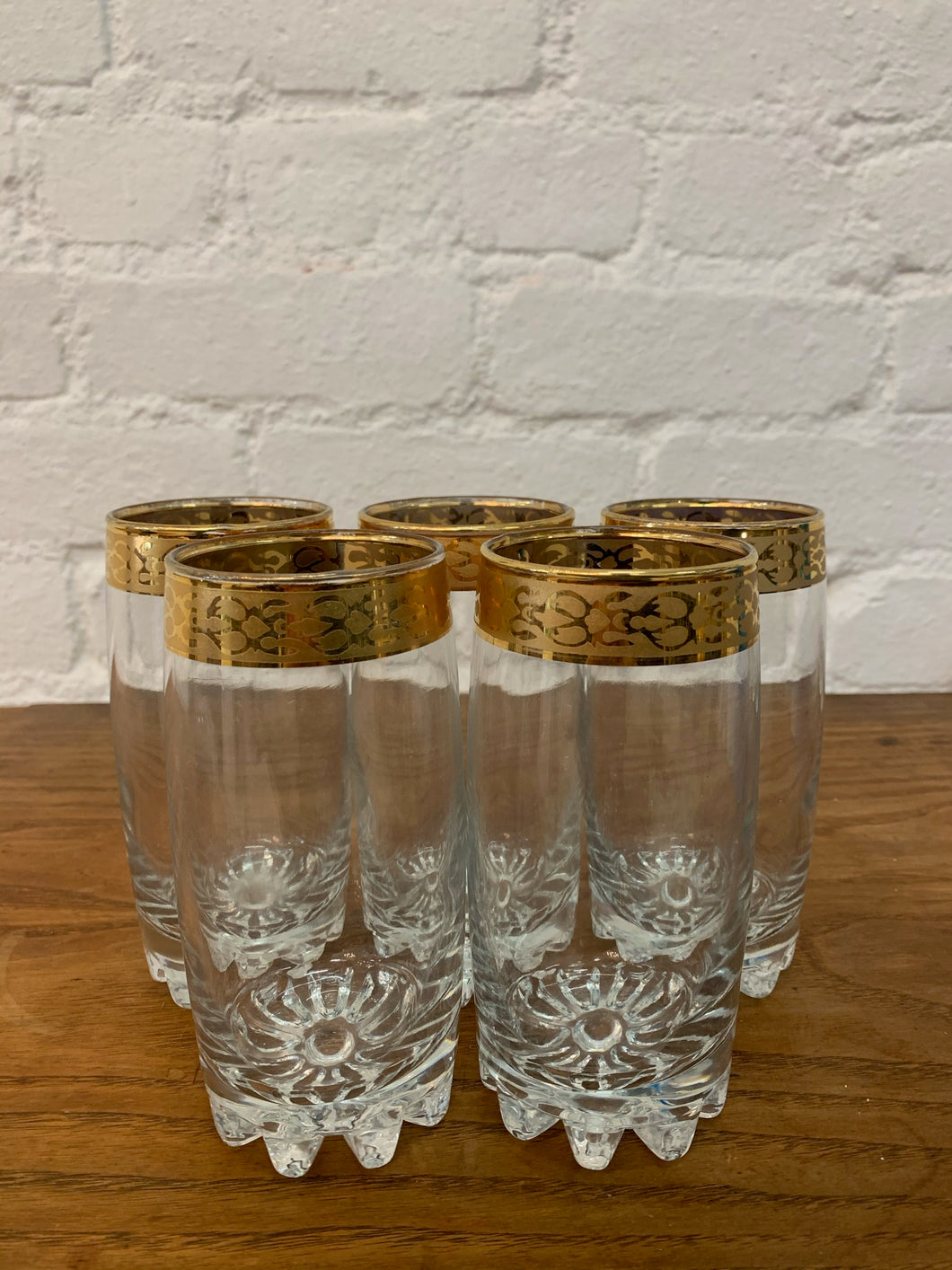 Gold Rimmed Weighted Bottom Cocktail Glasses  - Set of 5