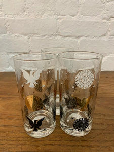 Cocktail Glasses with Eagle Gold Foil - Set of 3