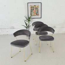 Load image into Gallery viewer, Grey Velvet & Gold Chairs Set of Four