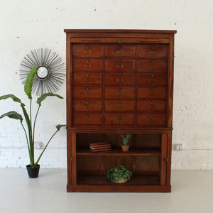 Antique Tambour Library Cart
