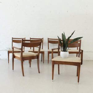 1969 Era Walnut Set of Six Chairs (choose your own upholstery)
