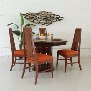1970's Hexagon Dining Table Set With 4 Chairs