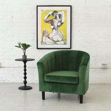 Load image into Gallery viewer, Green Velvet Channeled Club Chair