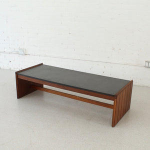 1970's Black Faux Slate Top Walnut Coffee Table