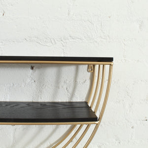 Half Moon Shelf in Black & Gold