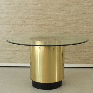 1970's Brass Plinth Base Dining Table