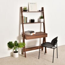 Load image into Gallery viewer, Moonbeam Walnut Shelf Desk