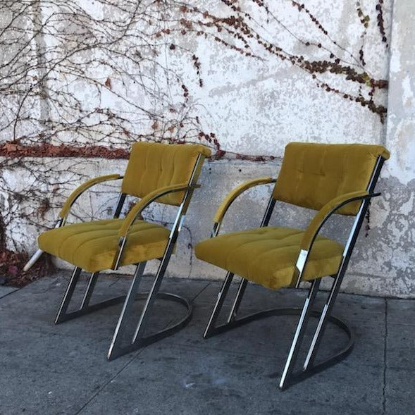 Citron Yellow Velvet Chrome Chair