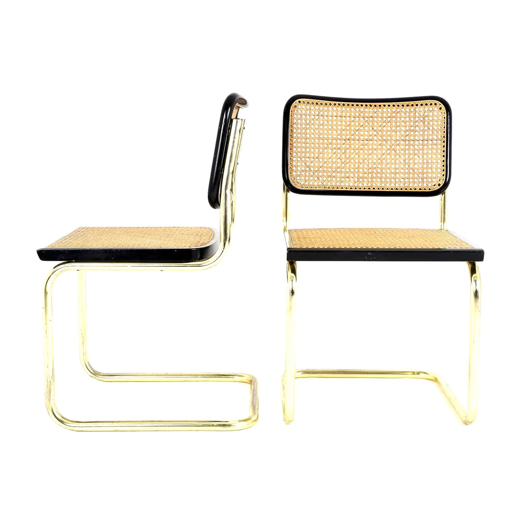 Brass & Black wicker Chair