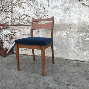Single Walnut Vintage dining chair with navy velvet upholstery