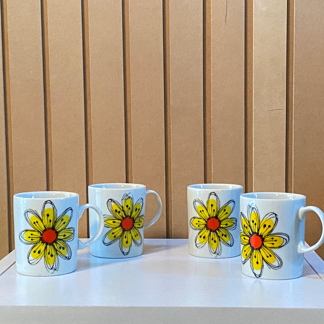 Yellow Flower Coffee Cups Set of 4