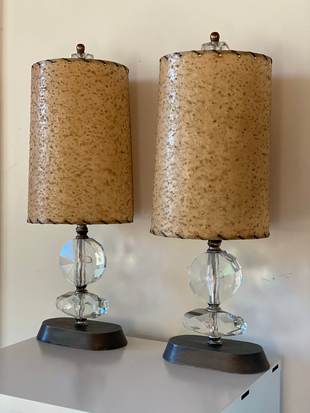 Pair of Crystal Italian Lamps