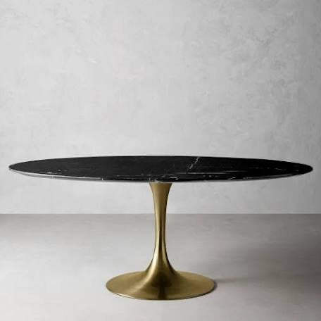 Oval Black Faux Marble Table with Brass Base