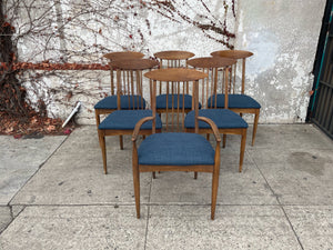 Set of 6 spindle back walnut dining chairs