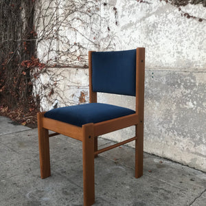 Blue and teak dining chair
