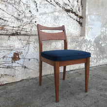 Load image into Gallery viewer, Single Walnut Vintage dining chair with navy velvet upholstery