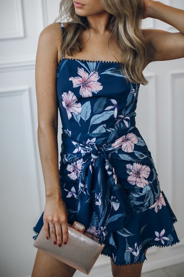 Raindrop Dress - Navy Floral
