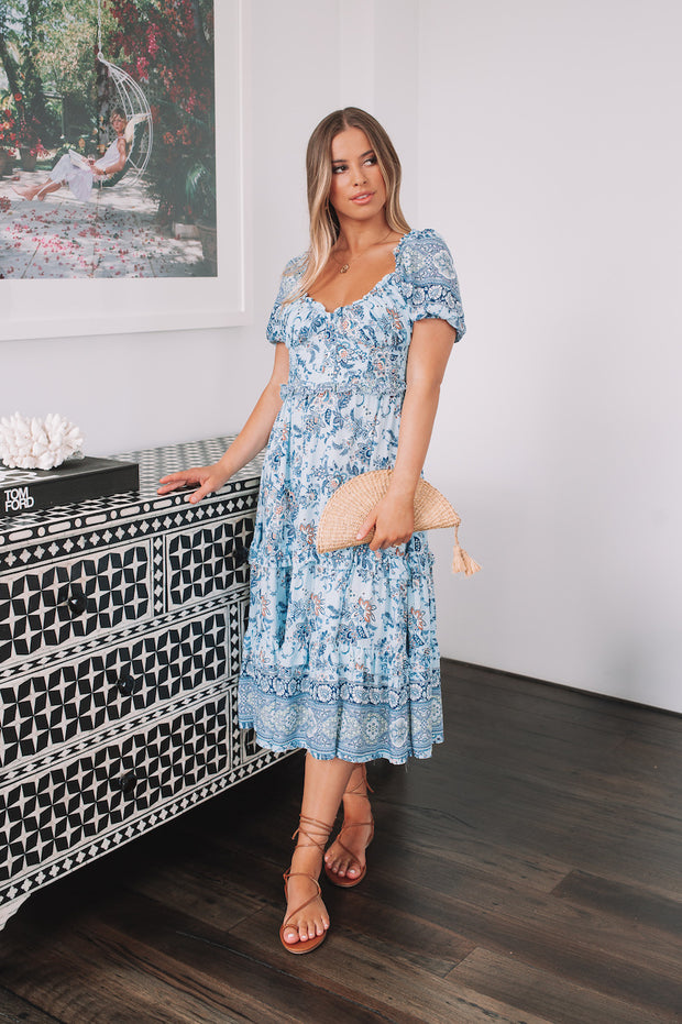Mariah Dress - Blue Print
