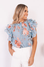 Elenora Top - Blue Print