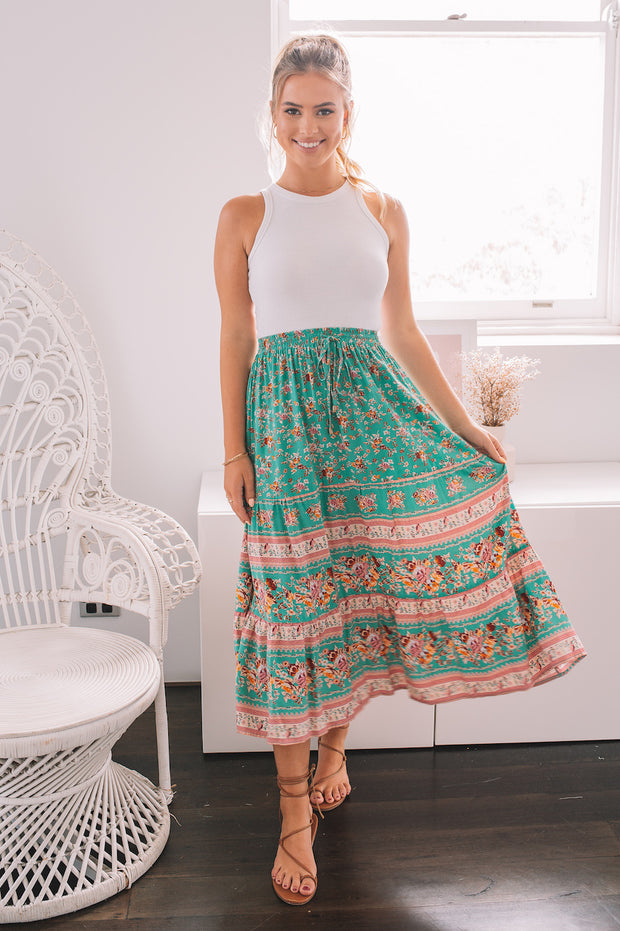 Peace Skirt - Teal Print