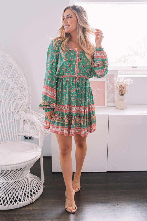 Peace Dress - Teal Print