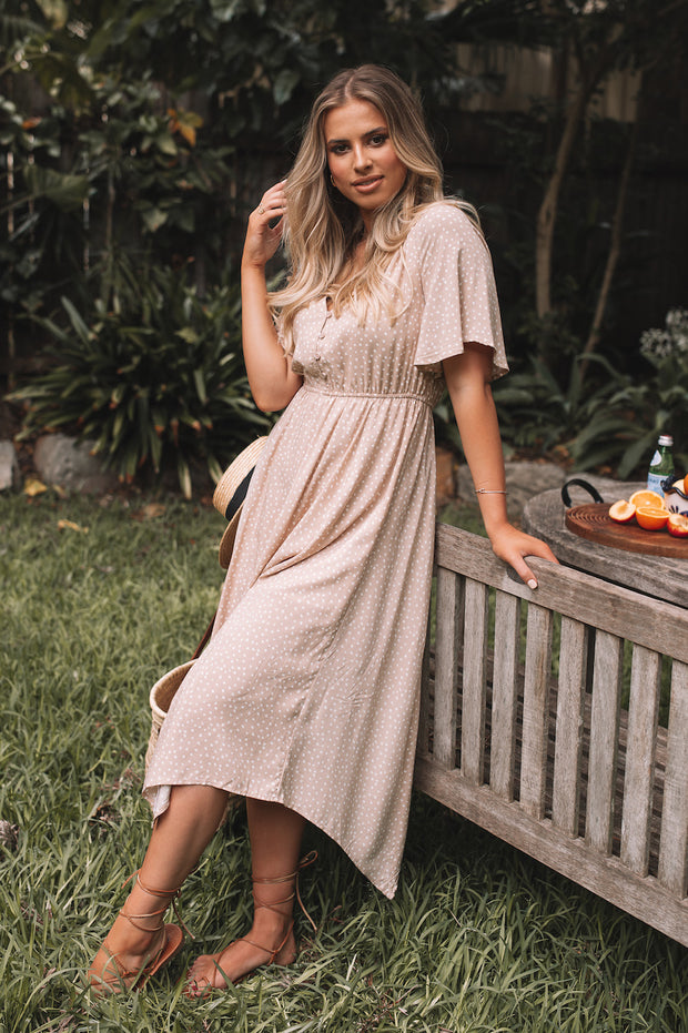 Lionela Dress - Beige Spot