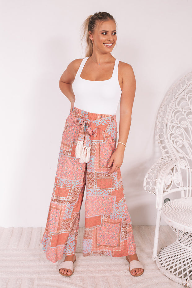 Aloe Pants - Coral Patchwork