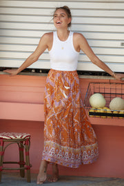 Swahili Skirt - Orange Print