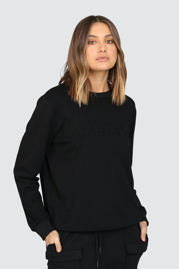 Madison Embossed Sweater - Black