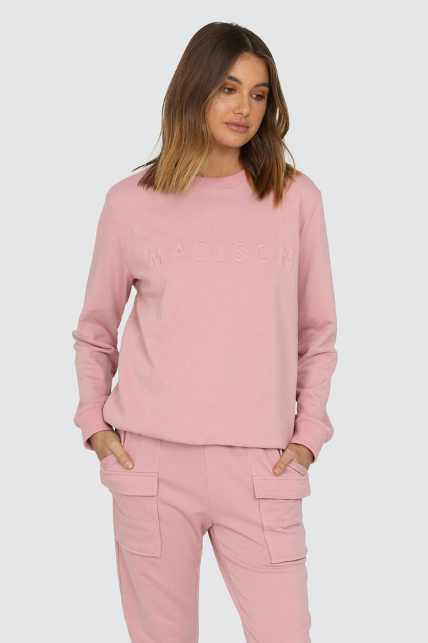 Madison Embossed Sweater - Pink