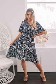 Fallon Dress - Navy Spot