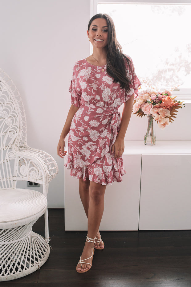Davie Dress - Rhubarb Print
