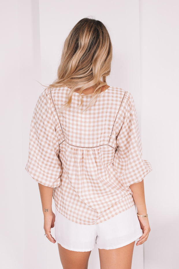 Deserae Top - Beige Gingham