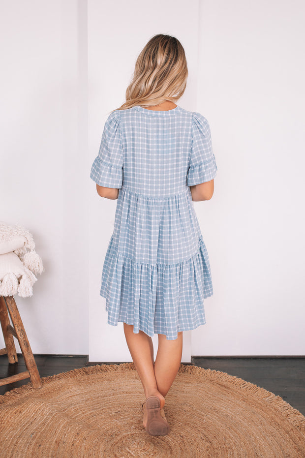Deserae Dress - Blue Gingham