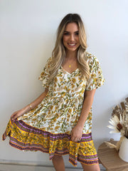 Ante Dress - Yellow Print
