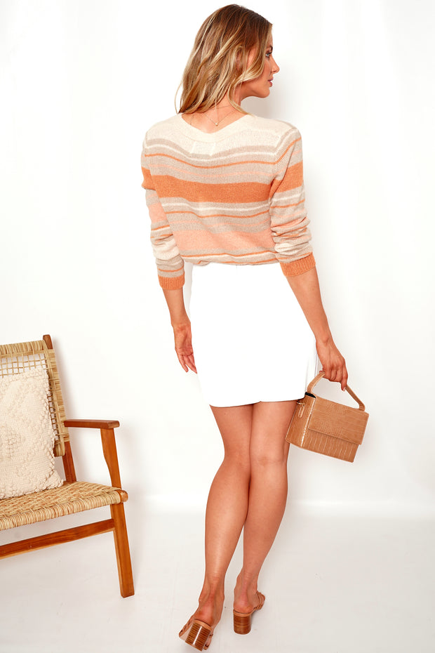 Mandarin Cardigan - Orange Stripe