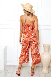 Heating Up Jumpsuit - Red Print