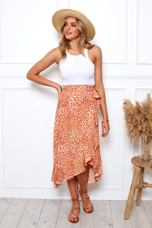 Peachy Dream Skirt - Leopard