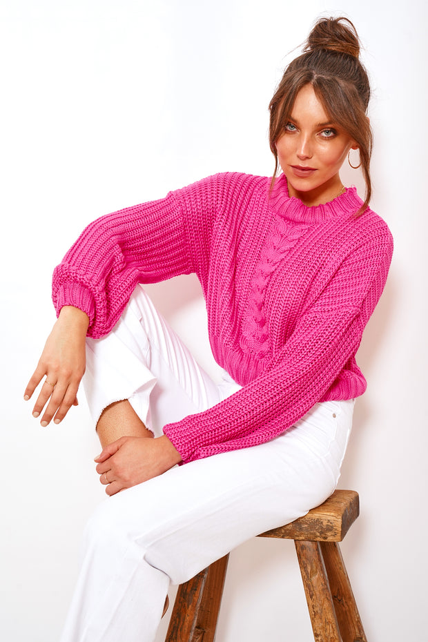 Bubblegum Knit - Hot Pink